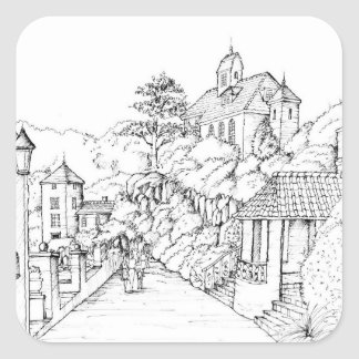 Portmeirion North Wales Pen and Ink Sketch Square Sticker