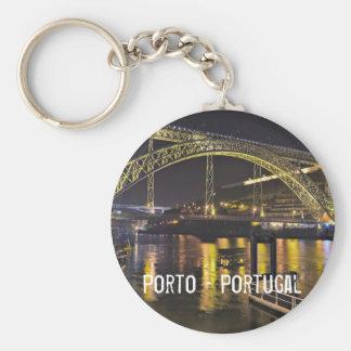 Porto - Portugal. Night Scene Near Douro River Keychain
