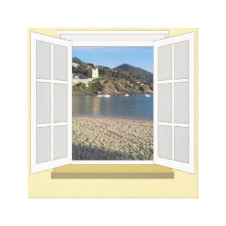 PortoBello, Italy through Window Canvas Print