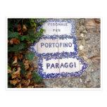 portofino paraggi sign post card