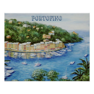 Portofino una visión panorámica majestuosa posters