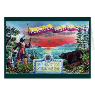 Portola Festival Explorers and Bear at SF Bay Greeting Cards