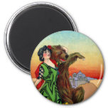 Portola Festival Lady with Bear 2 Inch Round Magnet