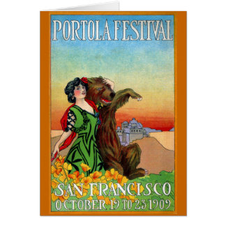 Portola Festival Lady with Bear Card