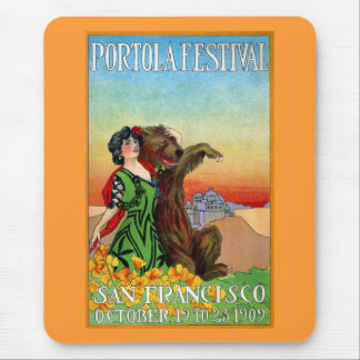 Portola Festival Lady with Bear Mouse Pad