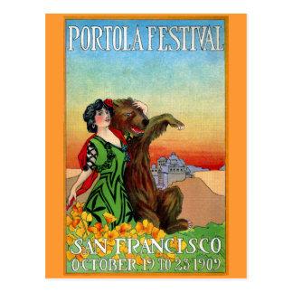 Portola Festival Lady with Bear Postcard