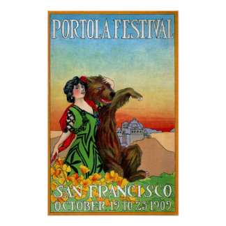 Portola Festival Lady with Bear Poster