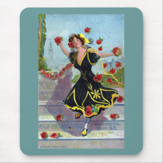 Portola Festival Lady with Roses 1909 Mouse Pads