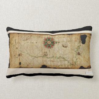 portolan chart pacific coast map circa lumbar pillow