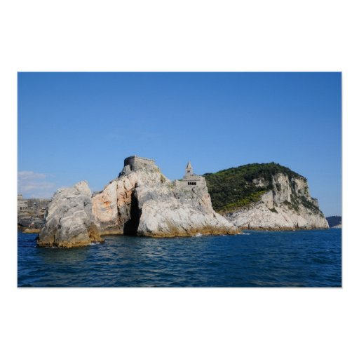 Portovenere harbour and church san Pietro in Italy Poster