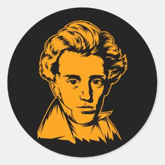 Portra del existencialista de la filosofía de pegatina redonda