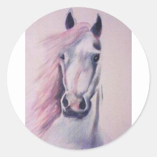 Portraint de un caballo pegatinas redondas