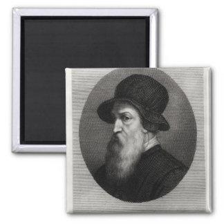 Portrait Benvenuto Cellini  engraved by 2 Inch Square Magnet