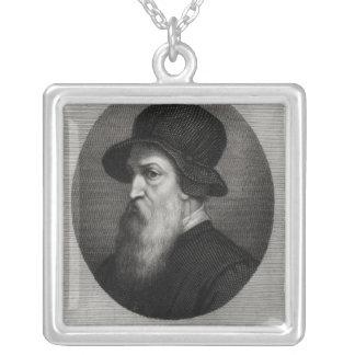 Portrait Benvenuto Cellini  engraved by Square Pendant Necklace