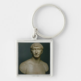 Portrait bust of emperor Trajan (53-117 AD) 1st-2n Silver-Colored Square Keychain