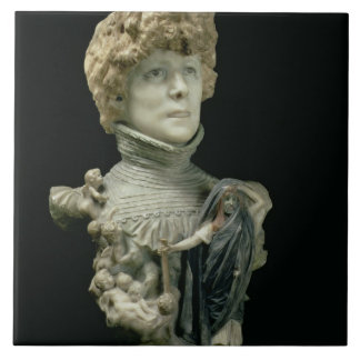Portrait Bust of Sarah Bernhardt (1844-1923) Frenc Ceramic Tile