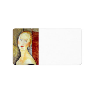 portrait de Germaine Survage by Amedeo Modigliani Address Label