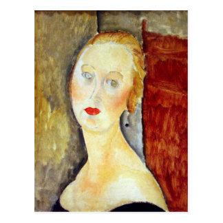 portrait de Germaine Survage by Amedeo Modigliani Postcard