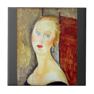 portrait de Germaine Survage by Amedeo Modigliani Tile