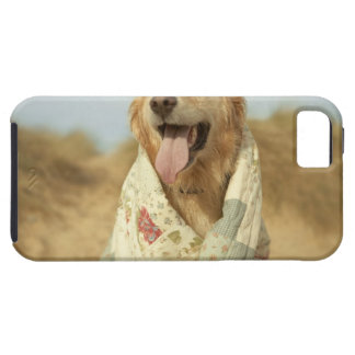 Portrait dog on beach under quilt. Fall iPhone SE/5/5s Case