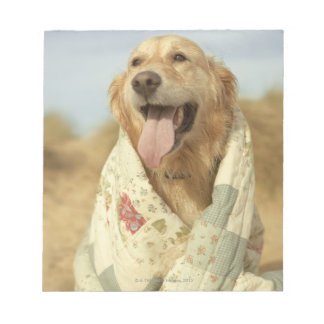 Portrait dog on beach under quilt. Fall Note Pad