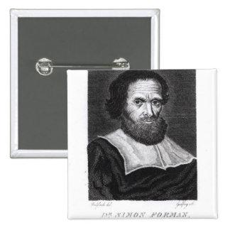 Portrait Dr Simon Forman  engraved by Godfrey Pinback Button