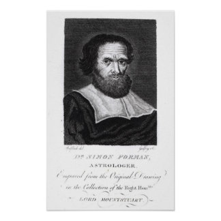 Portrait Dr Simon Forman  engraved by Godfrey Poster
