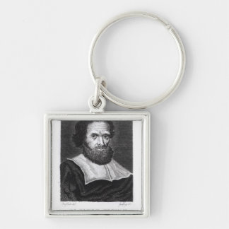 Portrait Dr Simon Forman  engraved by Godfrey Silver-Colored Square Keychain