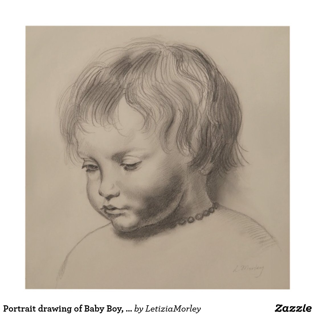 Portrait drawing of Baby Boy, style of Rubens