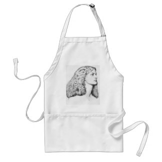 Portrait drawing of woman adult apron
