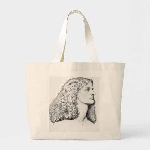 Portrait drawing of woman tote bag