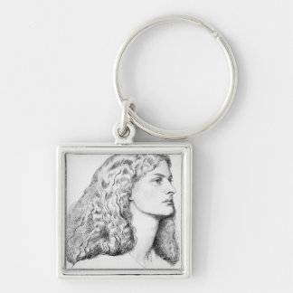 Portrait drawing of woman keychain