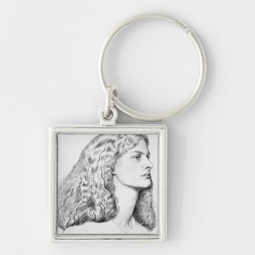 Portrait drawing of woman key chains