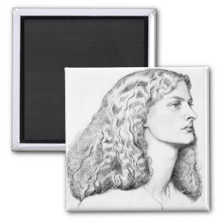 Portrait drawing of woman magnet