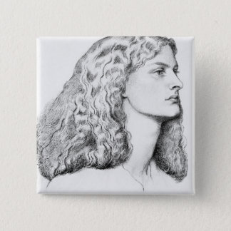 Portrait drawing of woman pinback button