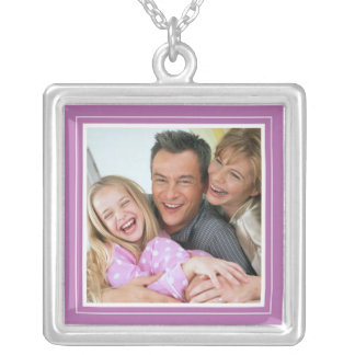 Portrait Frame in Flirty Purple Square Necklace