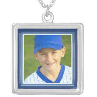 Portrait Frame in Fun Bright Blue Square Necklace