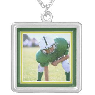 Portrait Frame in Fun Bright Green Square Necklace