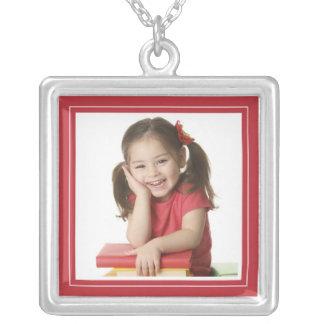 Portrait Frame in Fun Bright Red Square Necklace