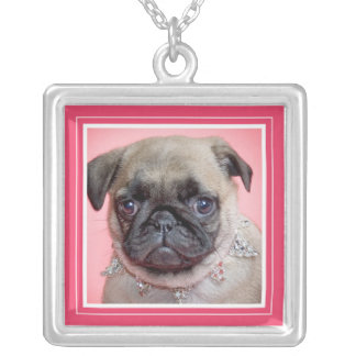 Portrait Frame in Hot Pink Fuschia Square Necklace