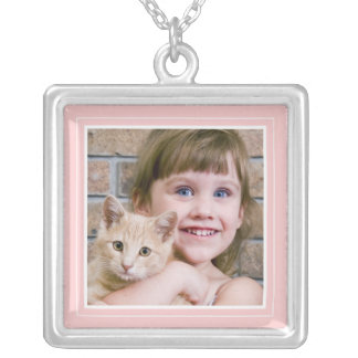 Portrait Frame in Pretty Pink Square Necklace