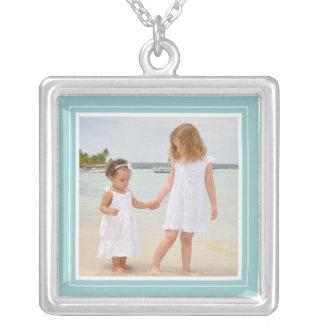 Portrait Frame in Soft Teal Square Necklace