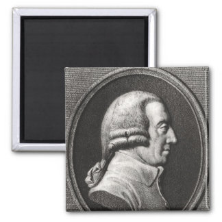 Portrait from a medallion of Adam Smith 2 Inch Square Magnet