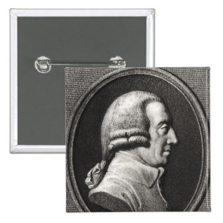 Portrait from a medallion of Adam Smith 2 Inch Square Button