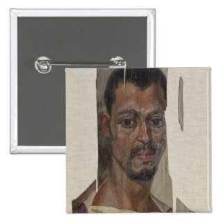 Portrait from Fayum (encaustic wax on wood) 2 Inch Square Button