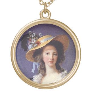 Portrait Gabrielle de Polignac Marie Antoinette's Gold Plated Necklace