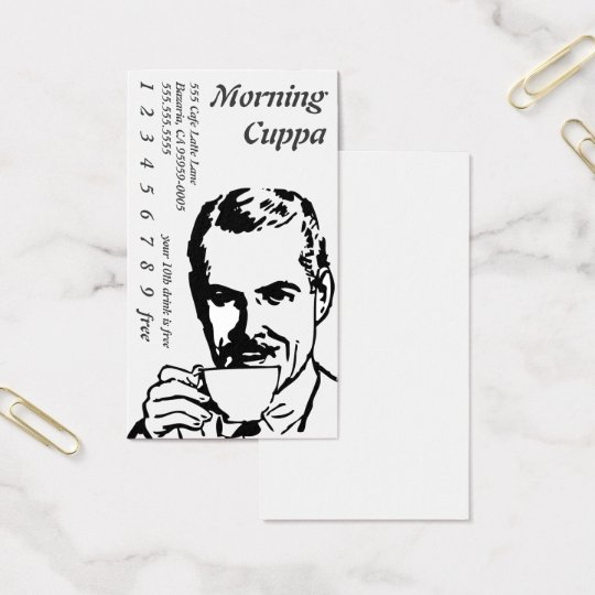 Portrait Head Drinking Line Art Morning Cuppa Business Card