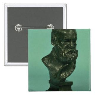 Portrait head of Victor Hugo (1802-85) (bronze) Button