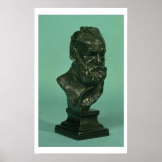 Portrait head of Victor Hugo (1802-85) (bronze) Print
