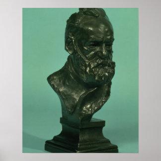 Portrait head of Victor Hugo (1802-85) (bronze) Poster